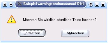 Shell Scripting with KDE Dialogs de-warningcontinuecancel dlg.png
