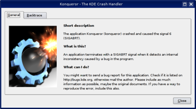 KDE 3 Crash Handler Dialog