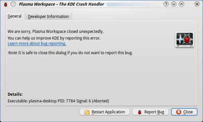 KDE 4.3+ Crash Handler dialog